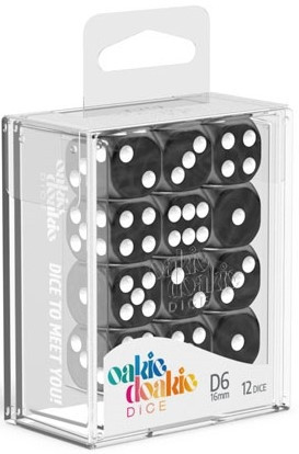 Oakie Doakie Dice - D6 16mm Marble Black (12)