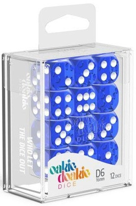 Oakie Doakie Dice - D6 16mm Translucent Blue (12)
