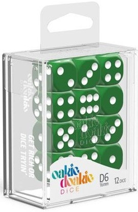 Oakie Doakie Dice - D6 16mm Solid Green (12)