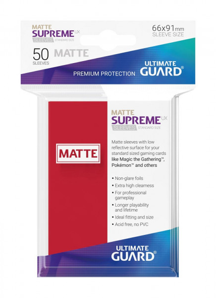 Supreme UX Sleeves Matte - 66x91 mm (50), Red