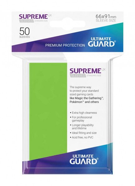 Supreme UX Sleeves - 66x91 mm (50), Light Green