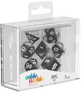Oakie Doakie Dice - RPG Set Solid Black (7)