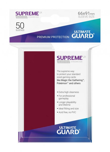 Supreme UX Sleeves - 66x91 mm (50), Burgundy