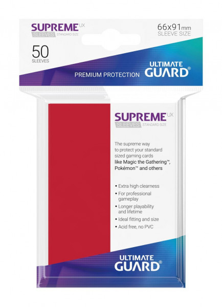 Supreme UX Sleeves - 66x91 mm (50), Red